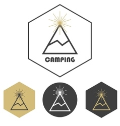 Mountain camping logo set of gold and grey vector