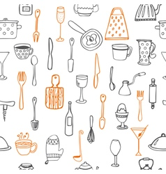Seamless pattern with kitchen utensil vector