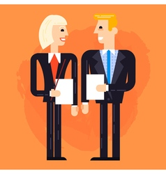 Business man and woman speaking vector image