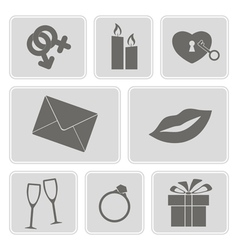 Monochrome icons on the wedding theme vector
