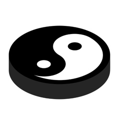 Yin yang 3d isometric icon vector