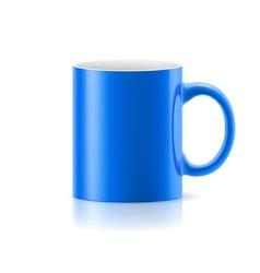 Blue mug on white vector image