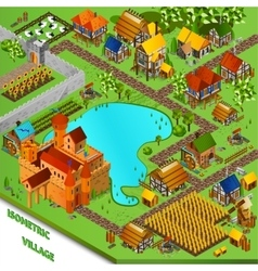Medieval village isometric vector