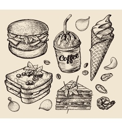 Fast food hand drawn hamburger burger coffee vector