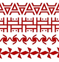 Set of ethnic seamless borders Russian slavic vector image