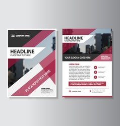 Purple annual report brochure leaflet template set vector