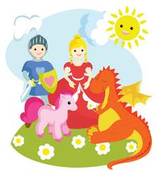 A knight a princess a unicorn a dragon vector