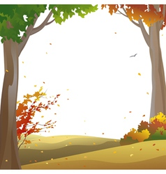 Autumn trees frame vector