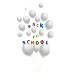 Back to school with a lot of flying white balloons vector
