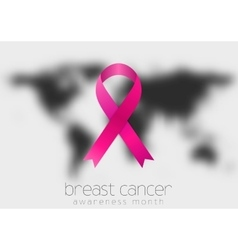 Breast cancer awareness pink ribbon and black vector image vector image