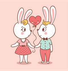 Bunny love card vector