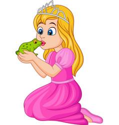 cartoon princess kissing a green frog vector image vector image