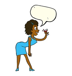 Cartoon woman with drink with speech bubble vector