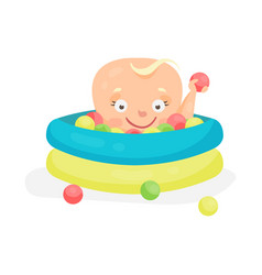 Cute cartoon baby playing in a pool with colorful vector