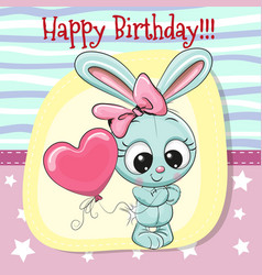cute cartoon rabbit girl with balloon vector image vector image