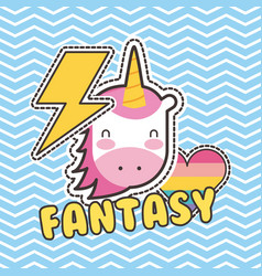 Cute patches unicorn heart love fantasy badge vector