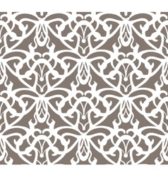 Elaborate white vintage seamless pattern on brown vector