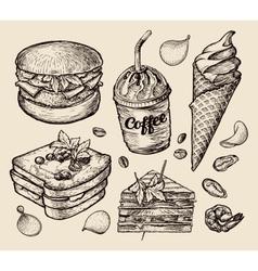 Fast food hand drawn hamburger burger coffee vector