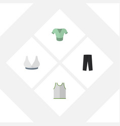 Flat icon clothes set of brasserie casual pants vector