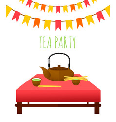 Flat traditional tea party template vector