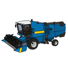 Funny blue harvester vector image vector image