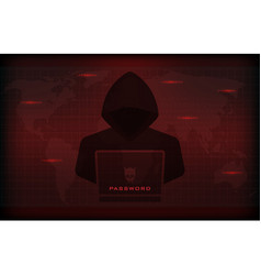 Hacker using laptop stealing confidential data vector
