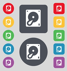 Hard disk and database icon sign A set of 12 vector image