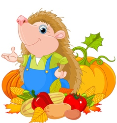 hedgehog with harvest fruits vector image