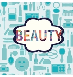 makeup cosmetic and beauty silhouettes vector image