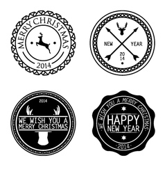merry xmas badges vector image