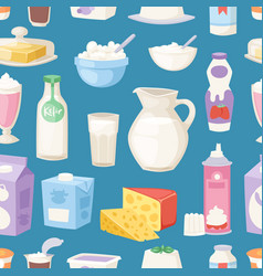 milk everyday products seamless pattern vector image