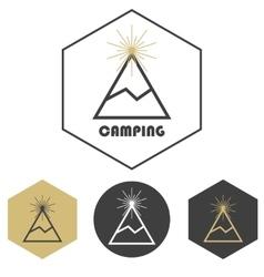 Mountain camping logo set of gold and grey vector image vector image