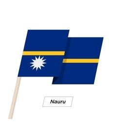 Nauru ribbon waving flag isolated on white vector