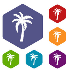 Palm icons set hexagon vector