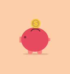 Pig bank with coin icon in simple style vector