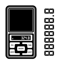 Portable digital weight scale black symbol vector