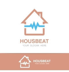pulsating house logo vector image vector image