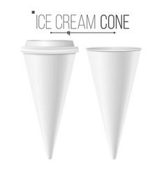 realistic ice cream cone blank white empty vector image