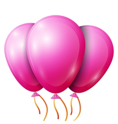 Realistic pink balloons with ribbon isolated on vector