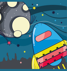 Rocket near to the moon in the galaxy space vector
