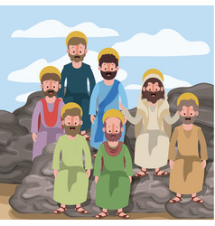 Scene in desert with group of apostles next to the vector