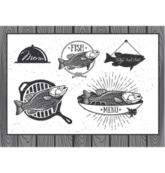 Seafood labels fish packaging design vector image