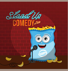 Stand up comedy crisps chips vector
