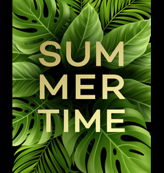 Summer poster with tropical palm leaf vector