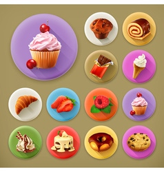 Sweet and tasty long shadow icon set vector image