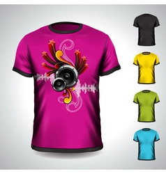 T-shirt set on a musical theme with speakers vector