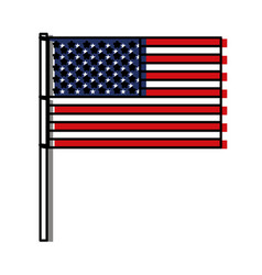 United states flag with pole in watercolor vector