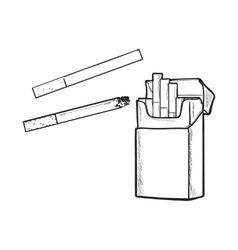 Unlabeled standing open pack of cigarettes vector