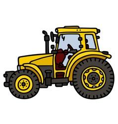 Yellow tractor vector