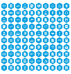 100 work paper icons set blue vector image vector image